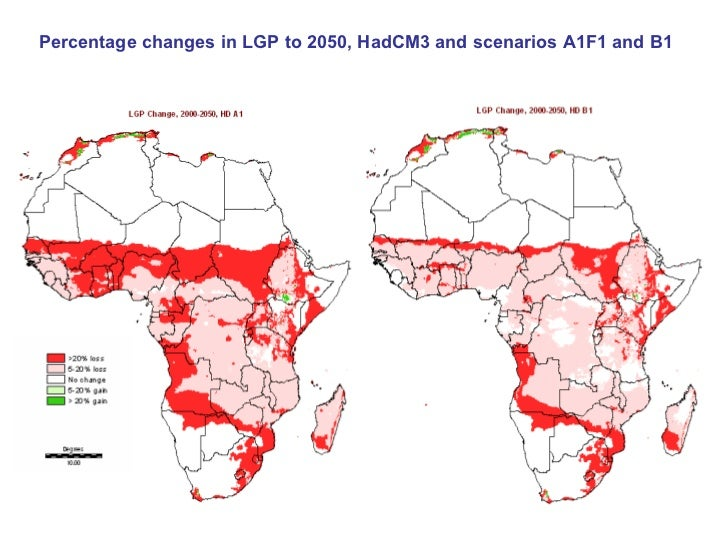 Percentage changes in LGP, HadCM3 & scenario A1F1         2020                                        2050