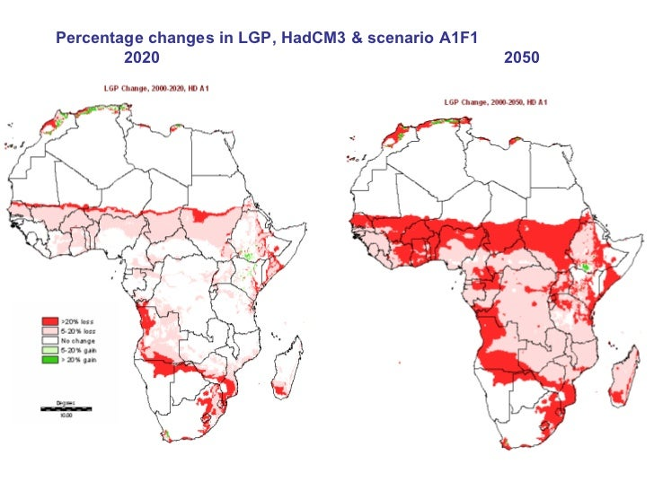 % change in LP to 2050, HadCM3, A1F1 (a high-emissions scenario)