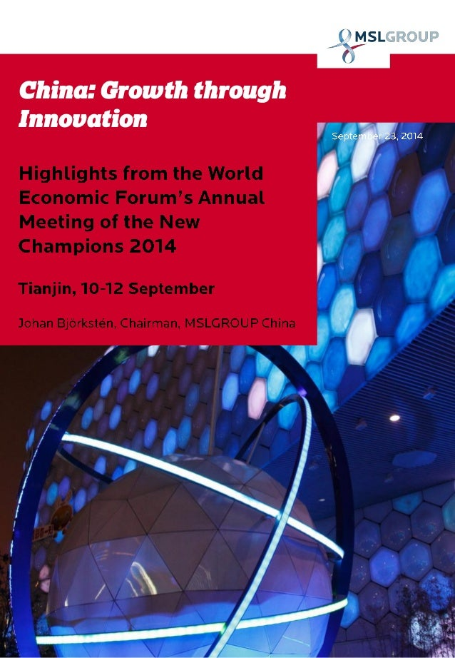 China: Growth through Innovation | Highlights from World Economic Forum's New Champions meeting