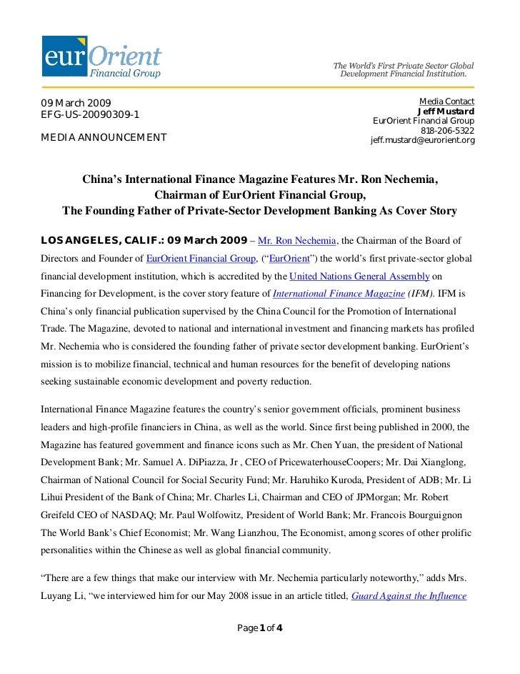 09 March 2009                                                                                   Media ContactEFG-US-200903...