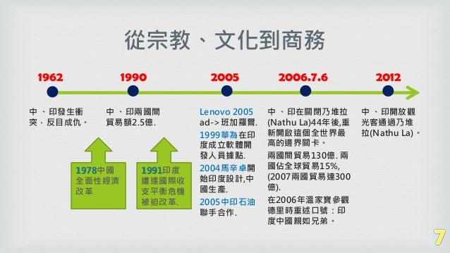 從宗教、文化到商務 2006.7.6 中 、印在關閉乃堆拉 (Nathu La)44年後,重 新開啟這個全世界最 高的邊界關卡。 兩國間貿易130億. 兩 國佔全球貿易15%, (2007兩國貿易達300 億). 在2006年溫家寶參觀 德里時...