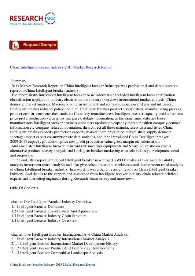 China Intelligent breaker Industry 2013 Market Research Report Summary 2013 Market Research Report on China Intelligent br...