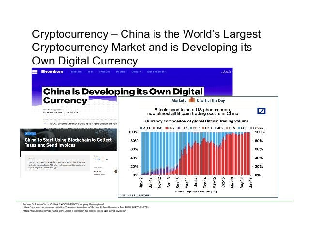 Cryptocurrency – China is the World's Largest Cryptocurrency Market and is Developing its Own Digital Currency Source:  ...