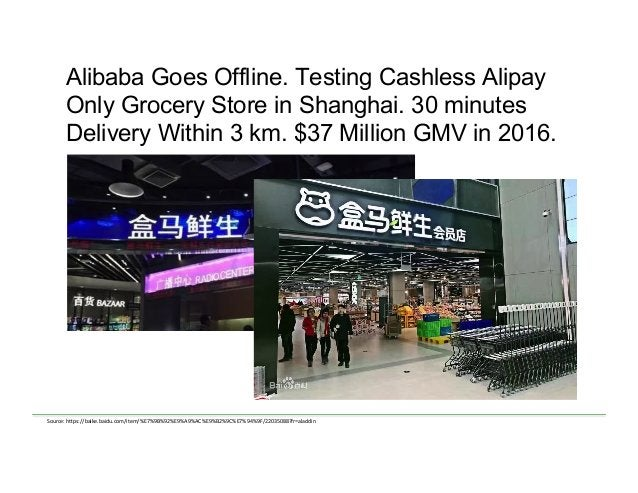 Alibaba Goes Offline. Testing Cashless Alipay Only Grocery Store in Shanghai. 30 minutes Delivery Within 3 km. $37 Million...