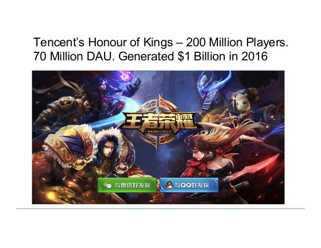 Tencent's Honour of Kings – 200 Million Players. 70 Million DAU. Generated $1 Billion in 2016
