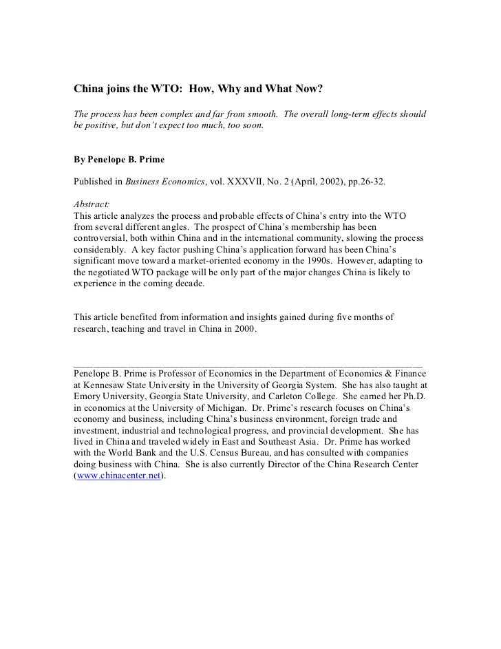 China joins the WTO: How, Why and What Now?The process has been complex and far from smooth. The overall long-term effects...