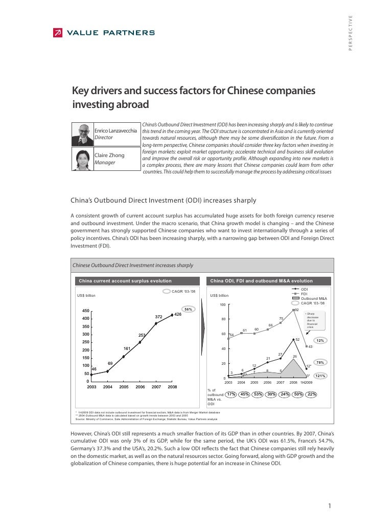 PERSPECTIVE Key drivers and success factors for Chinese companies investing abroad                                        ...