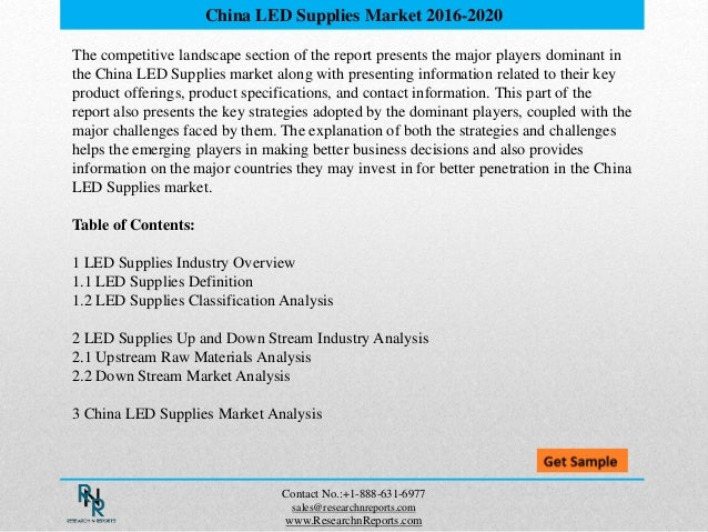 The competitive landscape section of the report presents the major players dominant in the China LED Supplies market along...