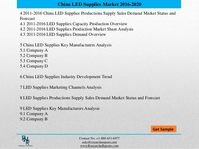 4 2011-2016 China LED Supplies Productions Supply Sales Demand Market Status and Forecast 4.1 2011-2016 LED Supplies Capac...