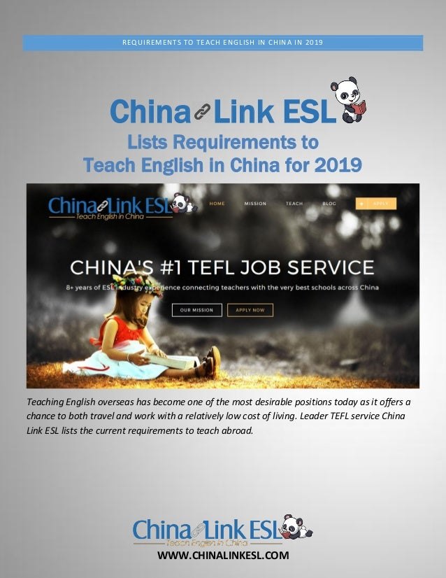 WWW.CHINALINKESL.COM REQUIREMENTS TO TEACH ENGLISH IN CHINA IN 2019 China Link ESL Lists Requirements to Teach English in ...