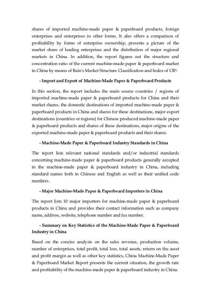 china machine made paper paperboard market report sample pages