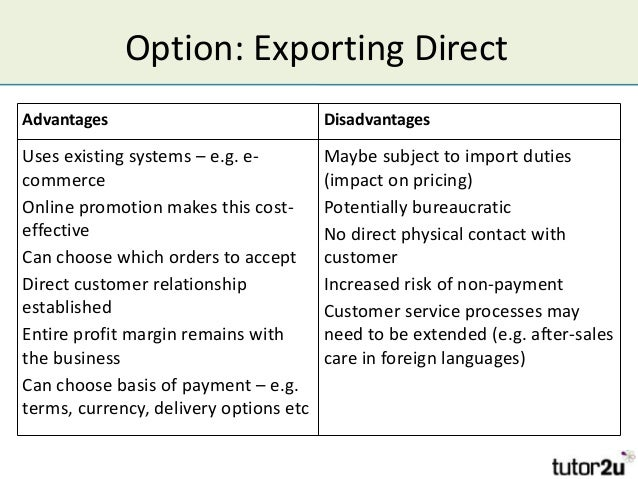 exporting advantages and disadvantages exporting common pi