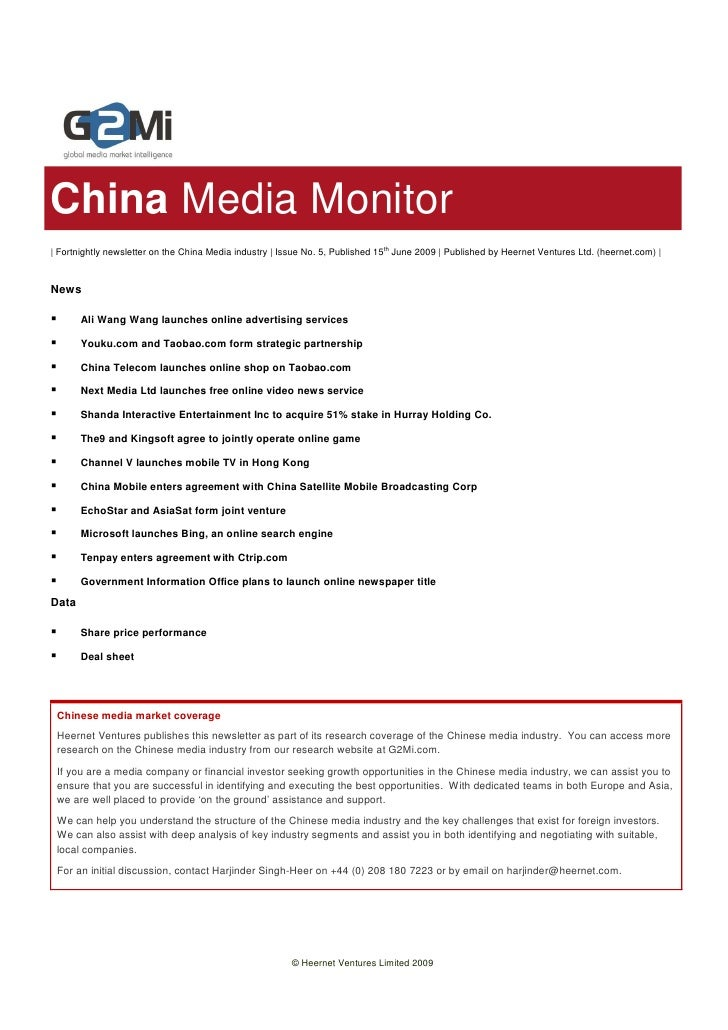 China Media Monitor | Fortnightly newsletter on the China Media industry | Issue No. 5, Published 15th June 2009 | Publish...