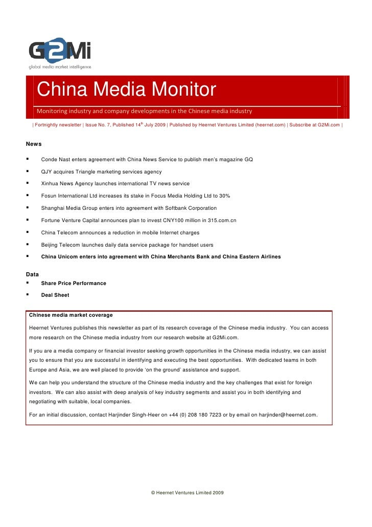 China Media Monitor    Monitoring industry and company developments in the Chinese media industry    | Fortnightly newslet...