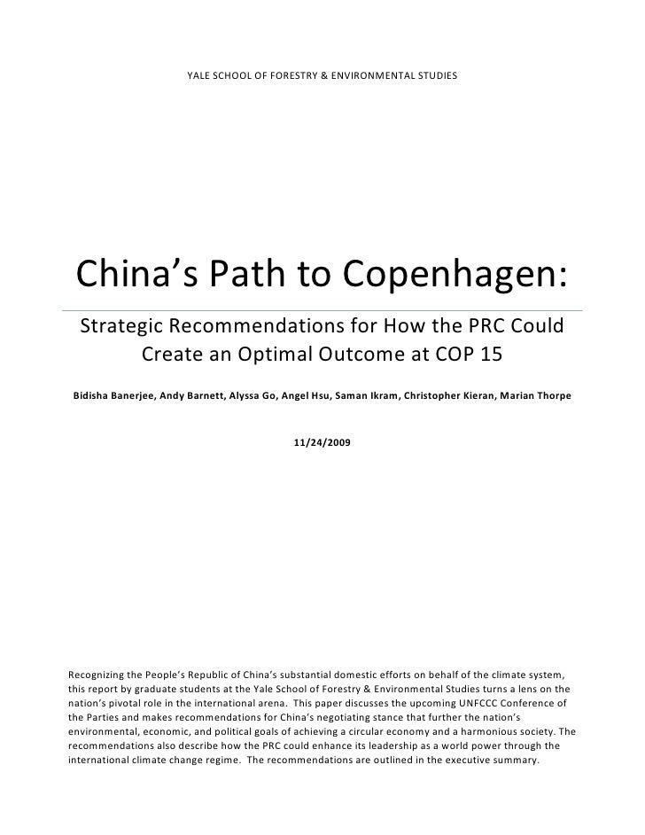 YALE	   SCHOOL	   OF	   FORESTRY	   &	   ENVIRONMENTAL	   STUDIES	          China's	   Path	   to	   Copenhagen:	       St...