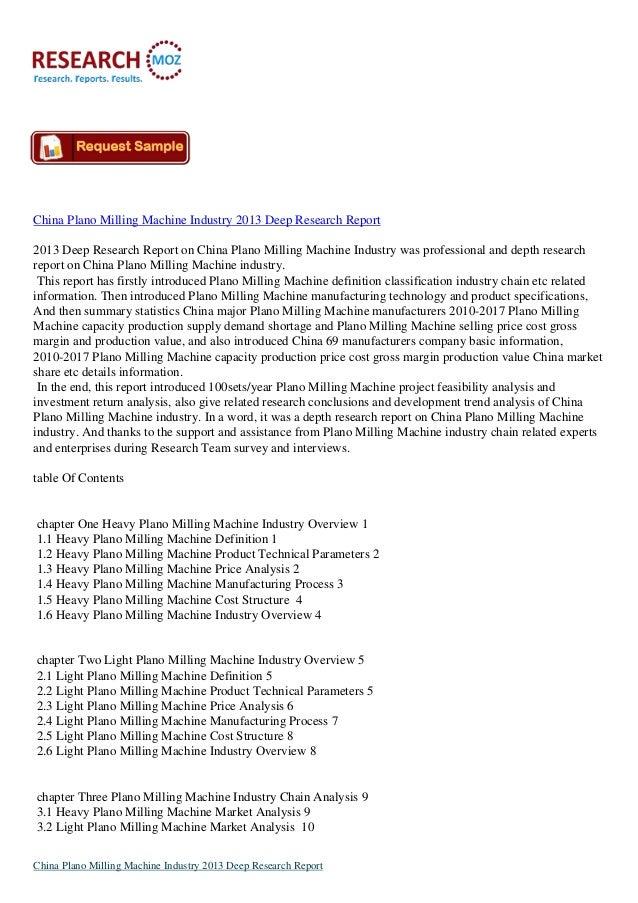 China Plano Milling Machine Industry 2013 Deep Research Report2013 Deep Research Report on China Plano Milling Machine Ind...