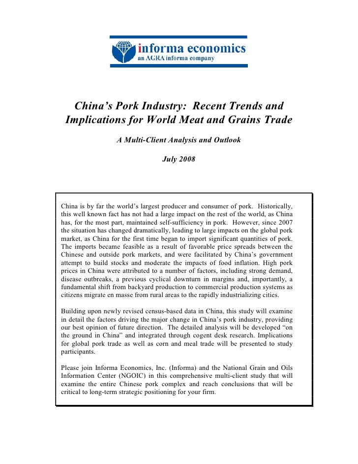 China's Pork Industry: Recent Trends and Implications for World Meat and Grains Trade                   A Multi-Client Ana...