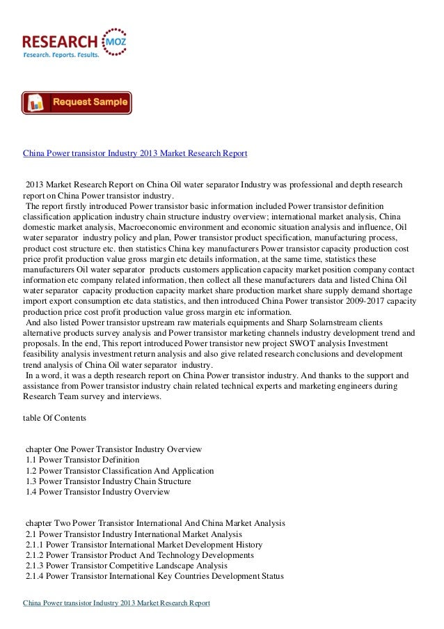 China Power transistor Industry 2013 Market Research Report 2013 Market Research Report on China Oil water separator Indus...