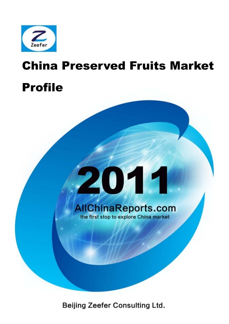 Order this report online at:http://www.allchinareports.com/food/confectionery/china-preserved-fruits-market-profile.Html  ...