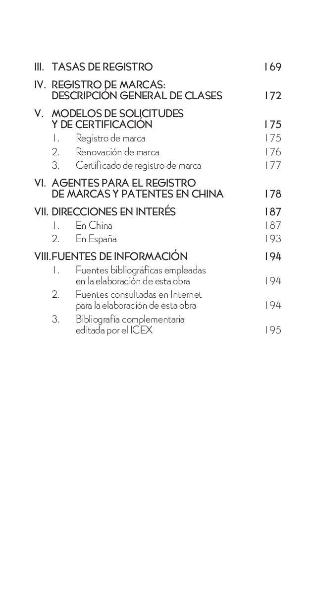 III. TASAS DE REGISTRO                      169IV. REGISTRO DE MARCAS:    DESCRIPCIÓN GENERAL DE CLASES           172V. MO...