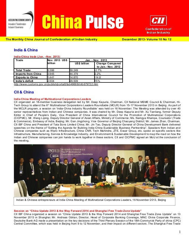 China Pulse The Monthly China Journal of Confederation of Indian Industry  December 2013  December 2013- Volume 10 No 12  ...