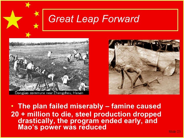 great leap forward The great leap forward was an industrialisation programme spearheaded by mao zedong and the communist party in china its goal was to enable china to overtake major capitalist powers such as britain and the united states but the initiative ended in catastrophic failure, with a collapse in grain.