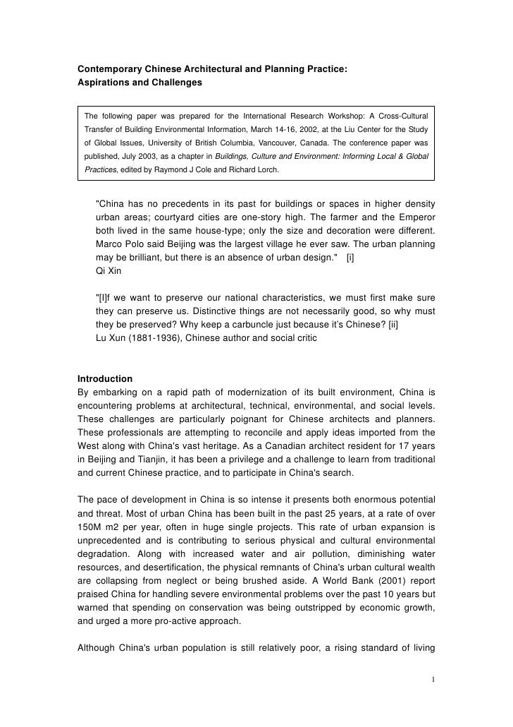 Contemporary Chinese Architectural and Planning Practice:Aspirations and Challenges The following paper was prepared for t...