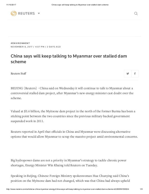 China says will keep talking to myanmar over stalled dam scheme 1 638gcb1510299940 11102017 china says will keep talking to myanmar over stalled dam scheme thecheapjerseys Gallery