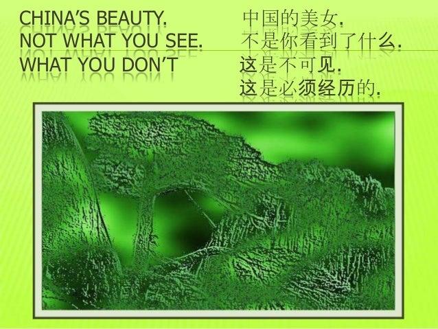 CHINA'S BEAUTY.     中国的美女.NOT WHAT YOU SEE.   不是你看到了什么.WHAT YOU DON'T      这是不可见.                    这是必须经历的.