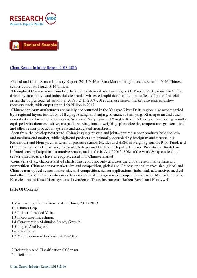 China Sensor Industry Report, 2013-2016 Global and China Sensor Industry Report, 2013-2016 of Sino Market Insight forecast...