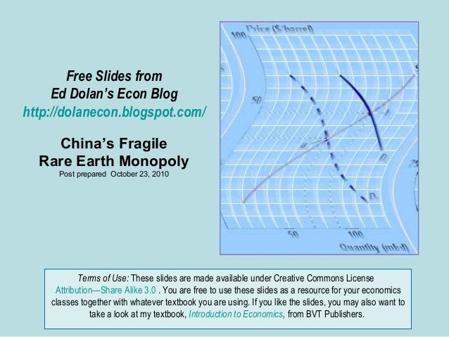 Free Slides from Ed Dolan's Econ Blog http://dolanecon.blogspot.com/ China's Fragile Rare Earth Monopoly Post prepared Oct...