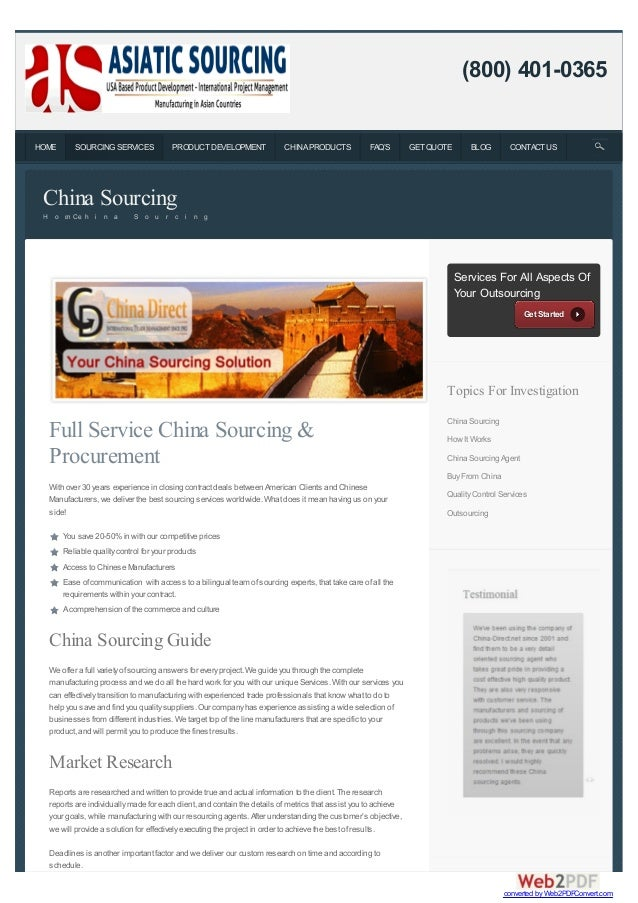 Full Service China Sourcing & Procurement With over 30 years experience in closing contract deals between American Clients...