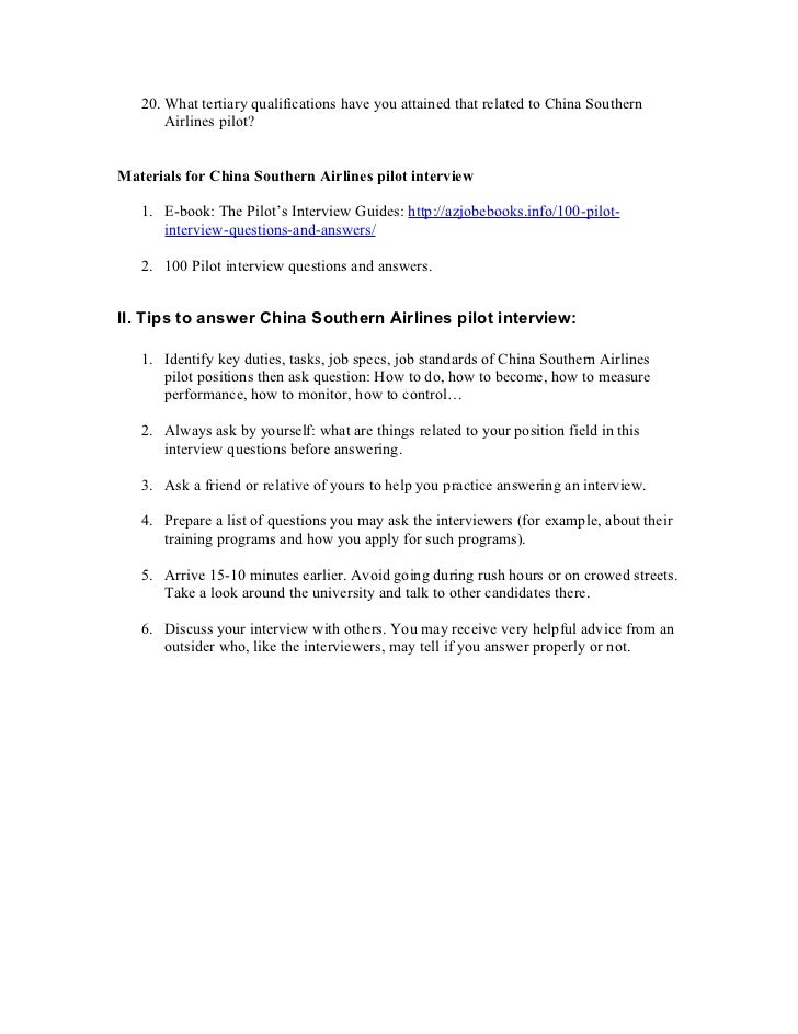2 - Airline Pilot Job Interview Questions And Answers
