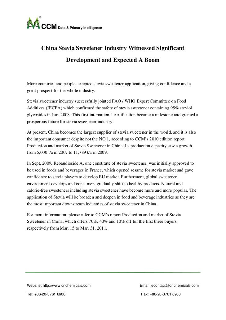 CCM Data & Primary Intelligence        China Stevia Sweetener Industry Witnessed Significant                        Develo...
