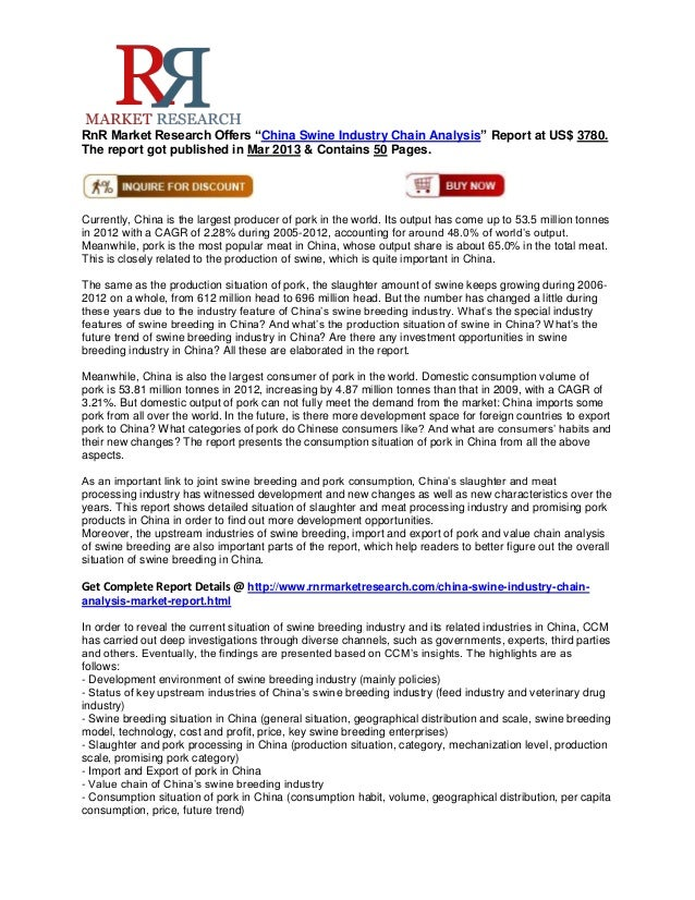 """RnR Market Research Offers """"China Swine Industry Chain Analysis"""" Report at US$ 3780.The report got published in Mar 2013 &..."""