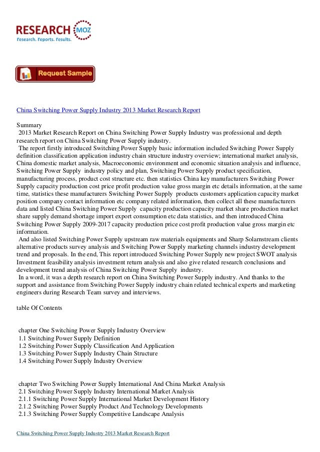China Switching Power Supply Industry 2013 Market Research ReportSummary2013 Market Research Report on China Switching Pow...