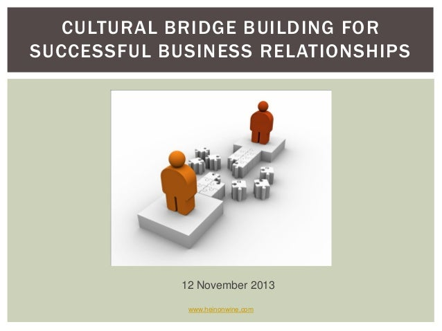 CULTURAL BRIDGE BUILDING FOR SUCCESSFUL BUSINESS RELATIONSHIPS  12 November 2013 www.heinonwine.com