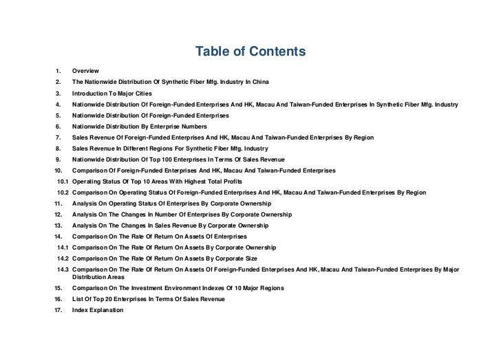 Table of Contents1.    Overview2.    The Nationwide Distribution Of Synthetic Fiber Mfg. Industry In China3.    Introducti...