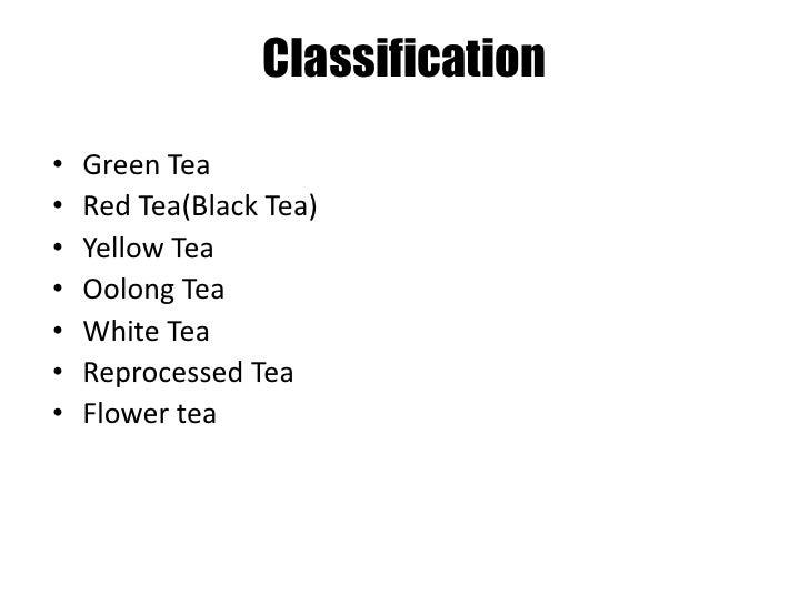 Classification<br /><ul><li>Green Tea