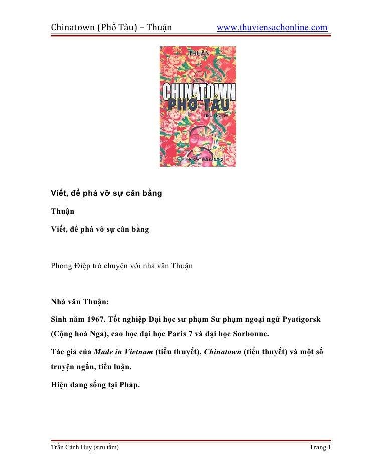 Chinatown (Phố Tàu) – Thuận                   www.thuviensachonline.comViết, để phá vỡ sự cân bằngThuậnViết, để phá vỡ sự ...