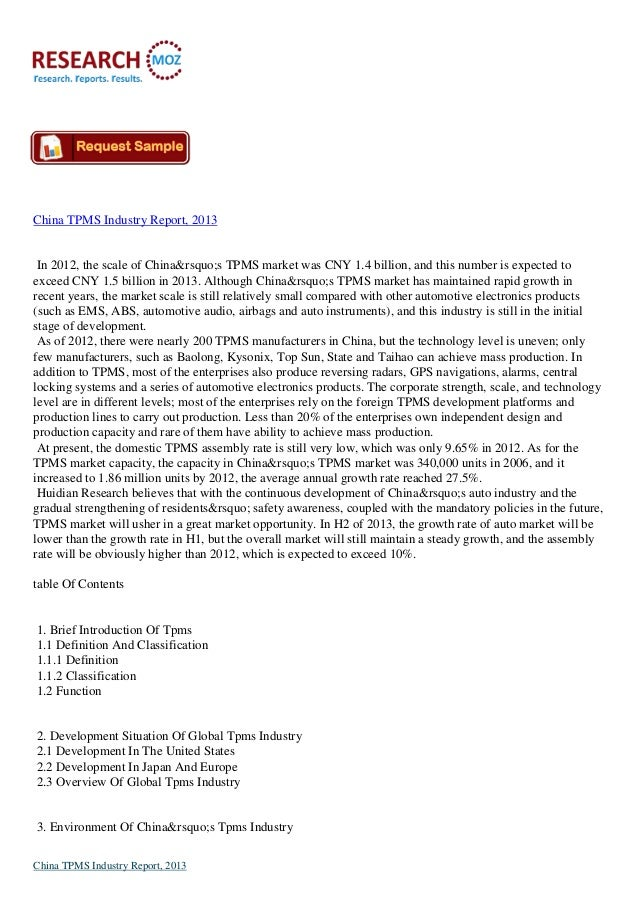 China TPMS Industry Report, 2013 In 2012, the scale of China's TPMS market was CNY 1.4 billion, and this number is e...