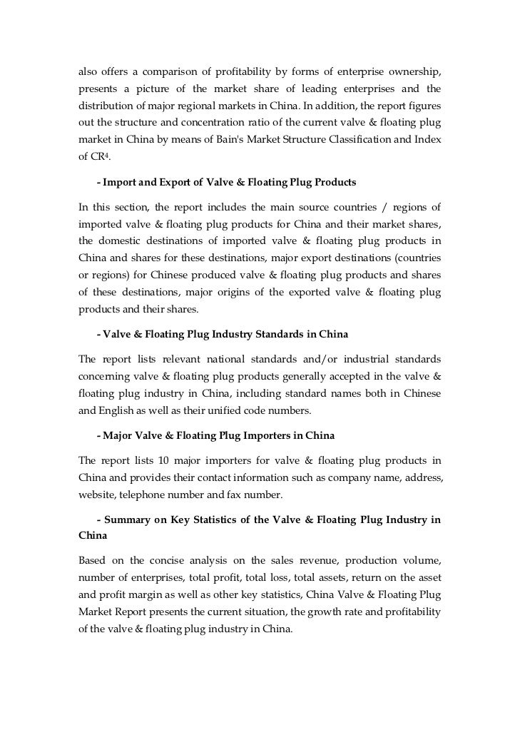 china valve floating plug market report sample pages