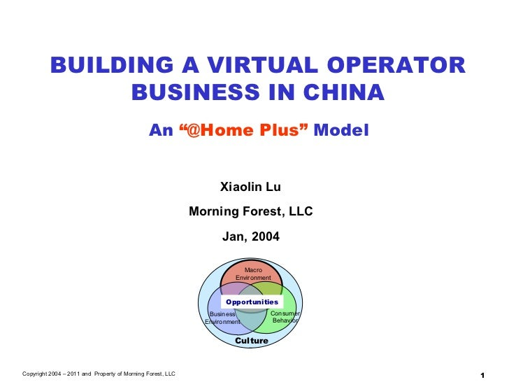 """Xiaolin Lu Morning Forest, LLC Jan, 2004 BUILDING A VIRTUAL OPERATOR BUSINESS IN CHINA An  """"@Home Plus""""  Model Copyright 2..."""