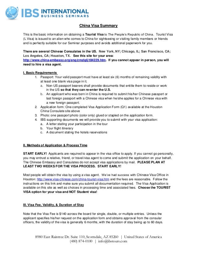 International Business Seminars Summer China - China Visa Summary on