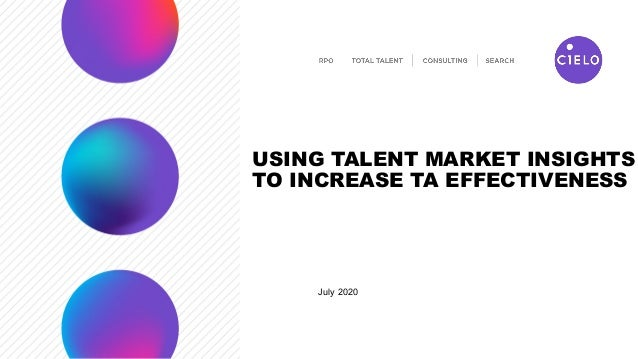 USING TALENT MARKET INSIGHTS TO INCREASE TA EFFECTIVENESS July 2020