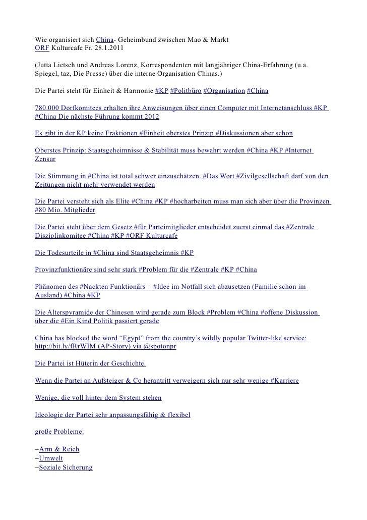 Wie organisiert sich China- Geheimbund zwischen Mao & MarktORF Kulturcafe Fr. 28.1.2011(Jutta Lietsch und Andreas Lorenz, ...