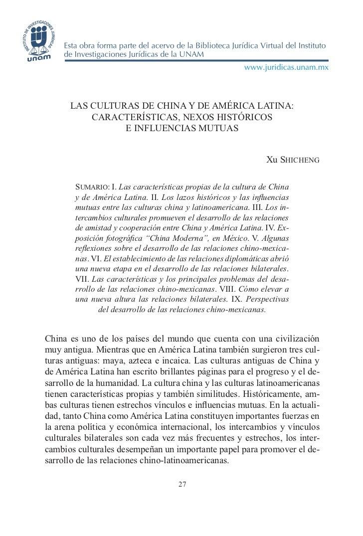 LAS CULTURAS DE CHINA Y DE AMÉRICA LATINA:          CARACTERÍSTICAS, NEXOS HISTÓRICOS                E INFLUENCIAS MUTUAS ...