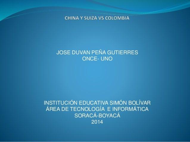 JOSE DUVAN PEÑA GUTIERRES  ONCE- UNO  INSTITUCIÓN EDUCATIVA SIMÓN BOLÍVAR  ÁREA DE TECNOLOGÍA E INFORMÁTICA  SORACÁ-BOYACÁ...
