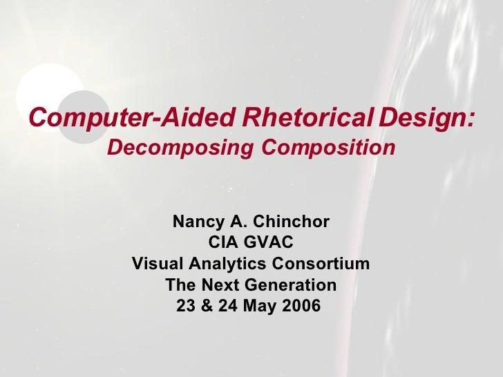 Computer-Aided Rhetorical Design:   Decomposing Composition <ul><li>Nancy A. Chinchor </li></ul><ul><li>CIA GVAC </li></ul...