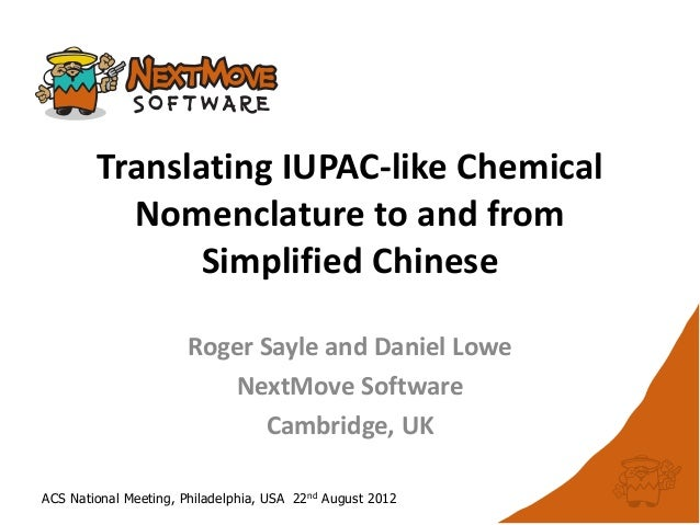 Translating IUPAC-like Chemical          Nomenclature to and from               Simplified Chinese                       R...